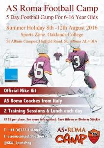 AS ROMA FOOTBALL CAMP – Summer Junior Football 6-16yr olds St Albans